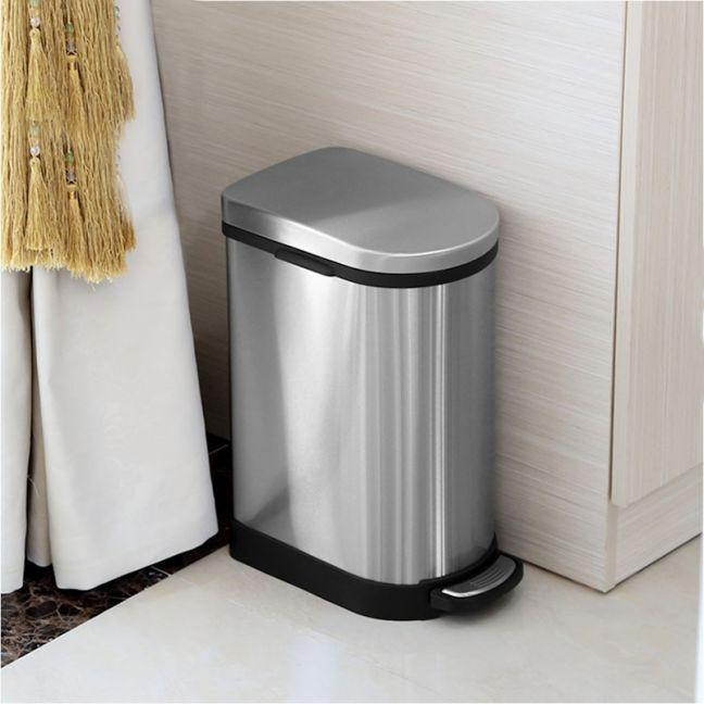 Foot Pedal Stainless Steel Rubbish Recycling Garbage Waste Trash Bin 10L U