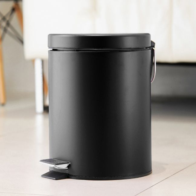 Foot Pedal Stainless Steel Rubbish Recycling Garbage Waste Trash Bin Round 12L Black