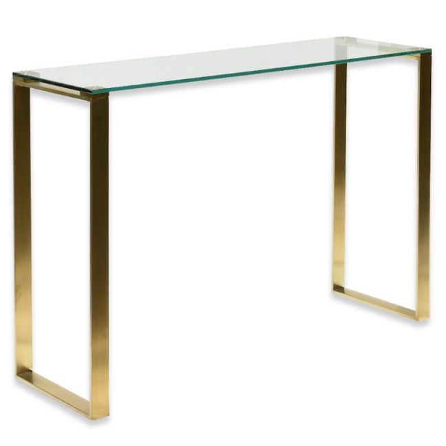 Freder Glass Console Table | Brushed Gold Base