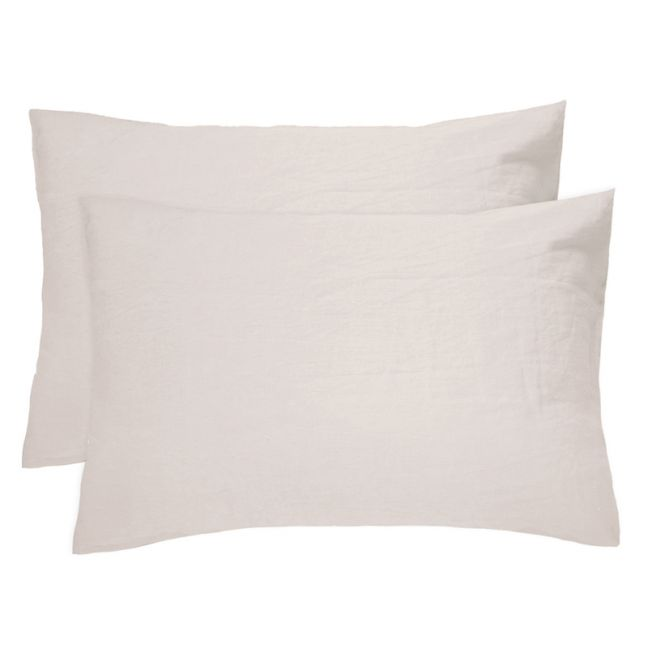 French Flax Linen Pillowcase Pair | Pebble