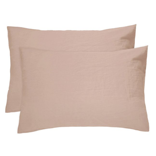 French Flax Linen Pillowcase Pair Tea | Rose