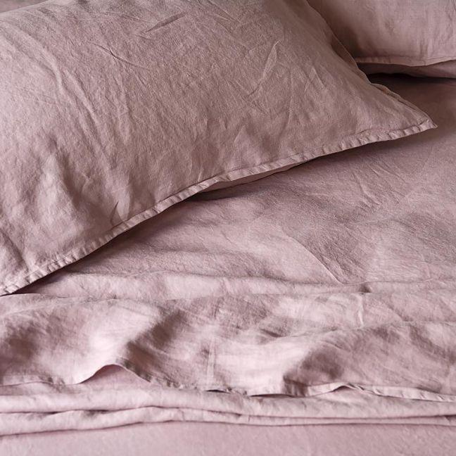 French Linen Dusky Rose | Full Sheet Set by Bedtonic
