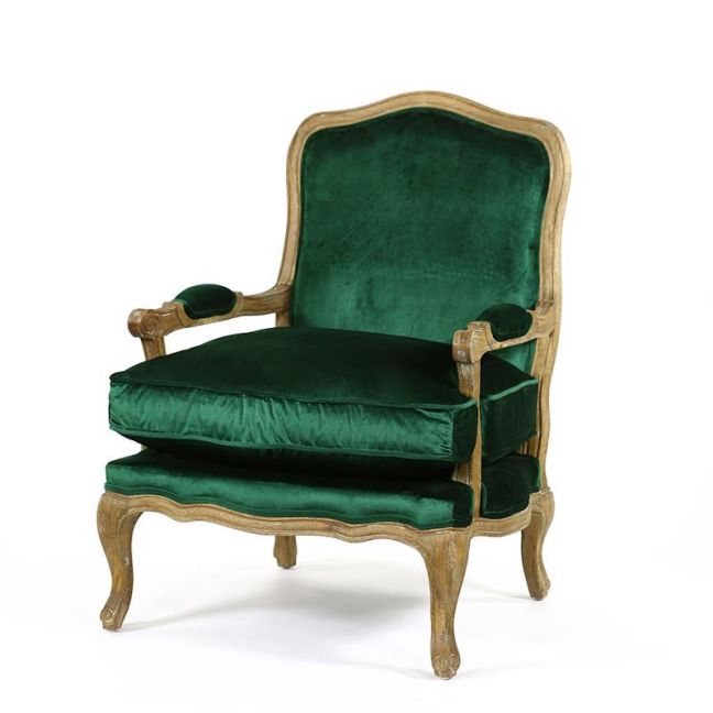 French Provincial Adele Occasional Chair | Emerald | by Black Mango