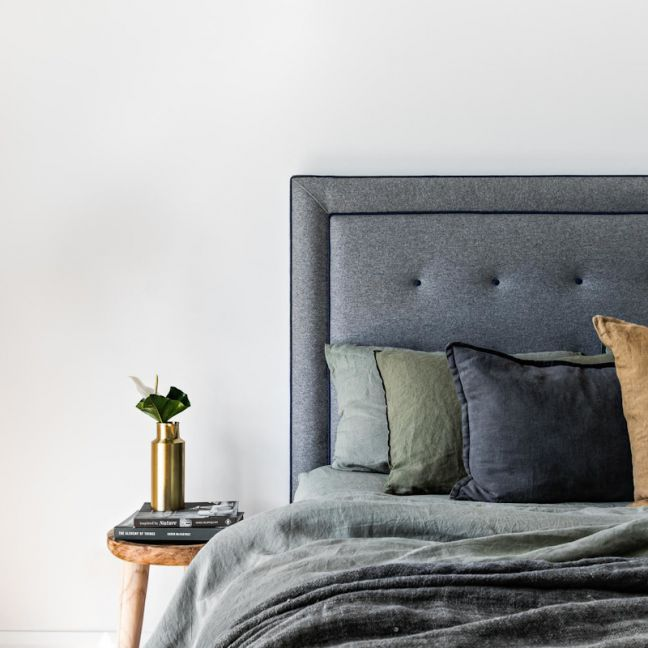 Fynn Upholstered Bedhead   Various Sizes and Colours   Custom Made by Bedsahead