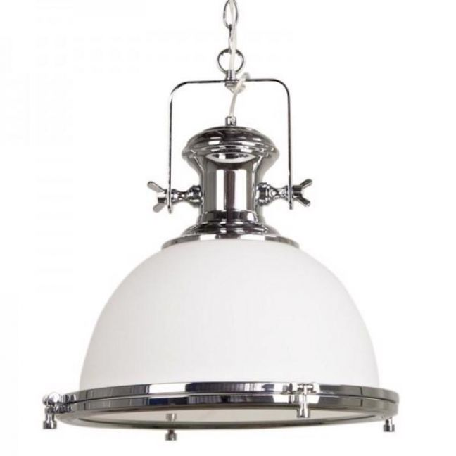 Gaia Industrial Pendant Light | White Glass Chrome