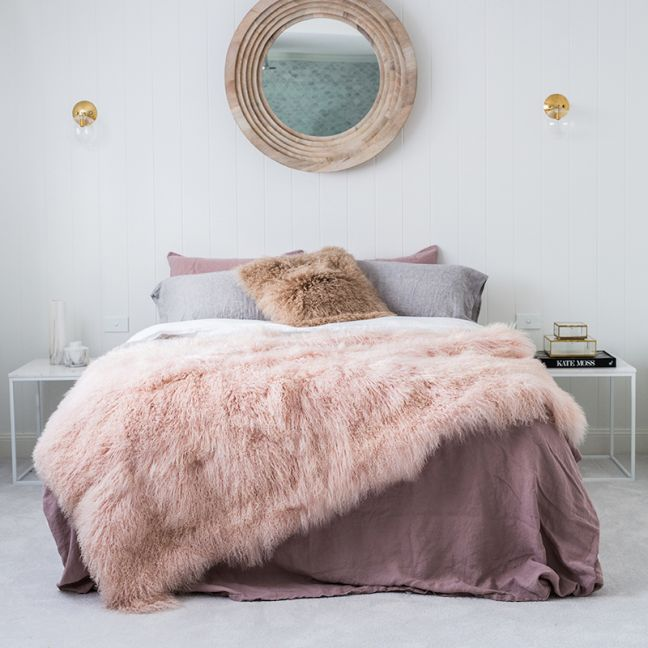 Genuine Mongolian Sheepskin Blanket | Pink Blush 180cm x 120cm