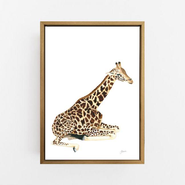 Geoffrey the Baby Giraffe Wall Art Print | by Pick a Pear | Canvas