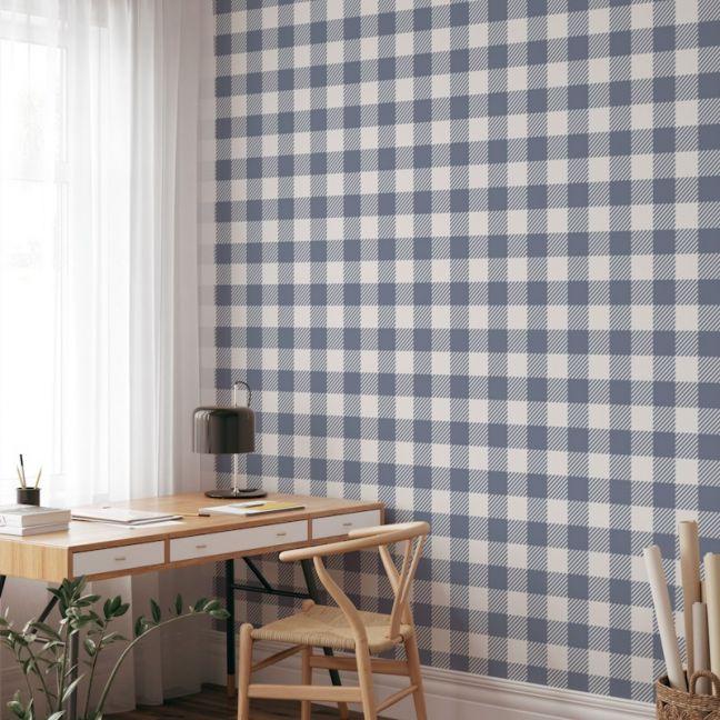 Gingham Check   Steel Blue   Wallpaper