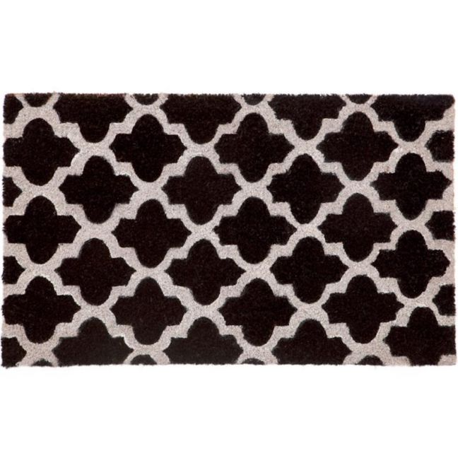 Girih Black | PVC Backed Coir Doormat | Fab Habitat