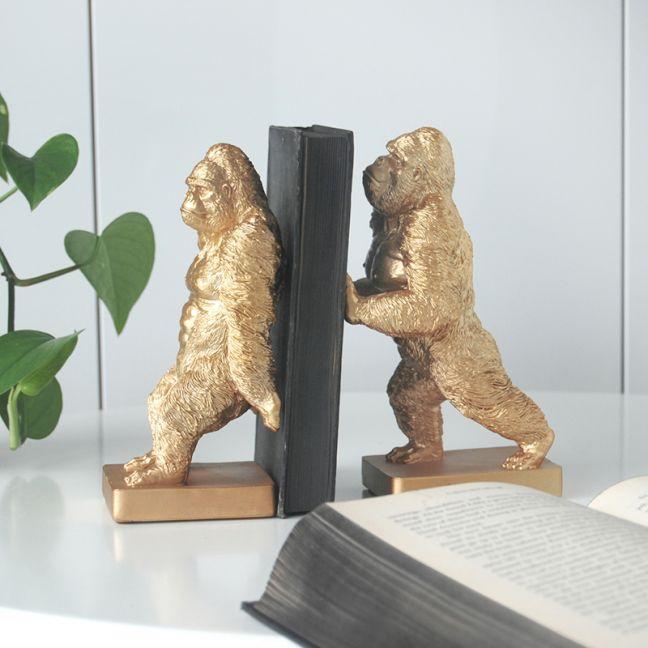 Gorilla Bookend Set | Gold