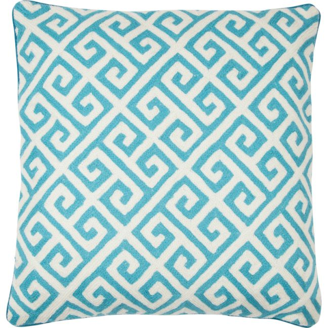 Grecca Hand Embroidered Cushion | Turquoise | Schots