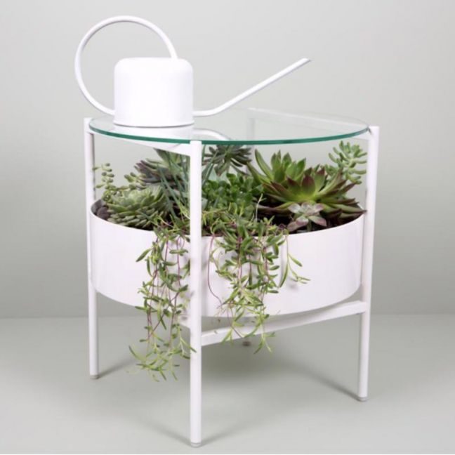 Green Glass Side Table | Matte White