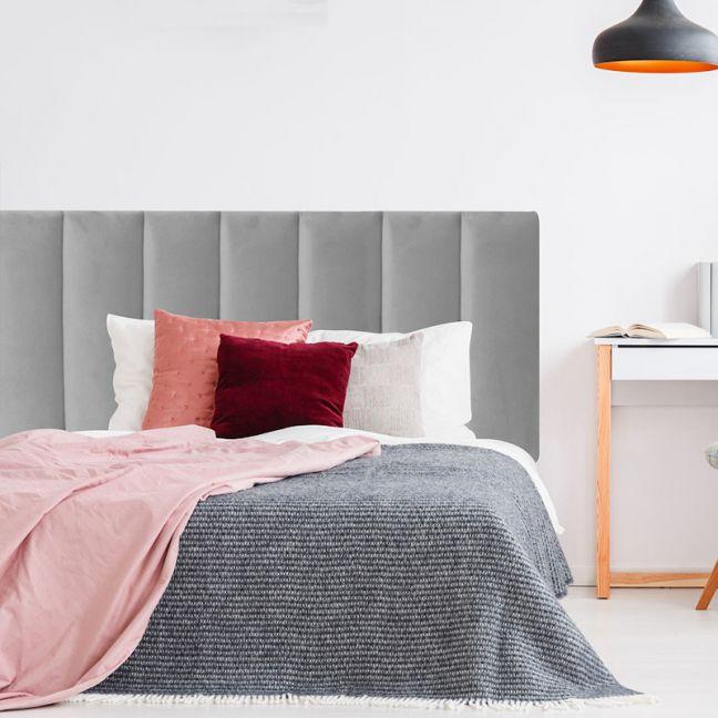 Grey Neutral Velvet Panelled Upholstered Bedhead | All Sizes | Custom Made by Martini Furniture