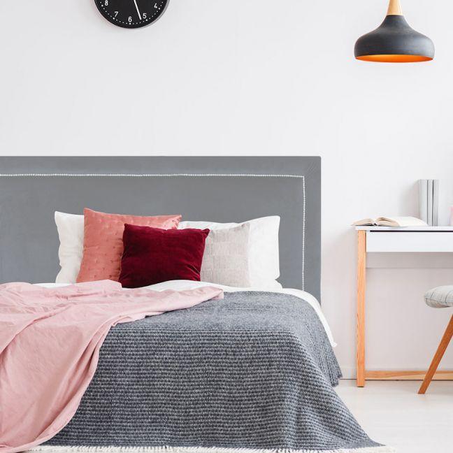 Grey Neutral Velvet Studded Upholstered Bedhead | All Sizes | Custom Made by Martini Furniture
