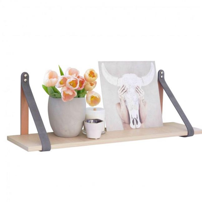 Grey Suede Leather Strap Shelf | Nordic