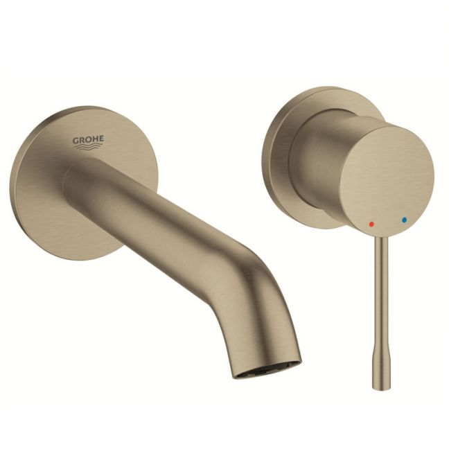 Grohe  Essence New Wall Basin Mixer Tap Set Brushed Nickel