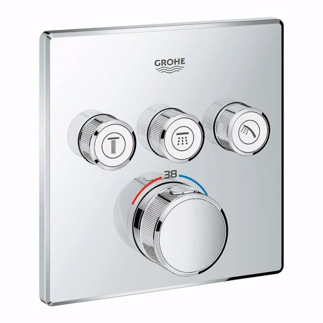 GROHE SmartControl Concealed Thermostat 3 Button Square Chrome