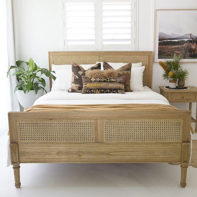 Hamilton Cane Bed | King Size | Weathered Oak