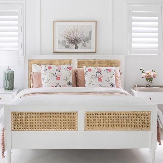 Hamilton Cane King Size Bed | White