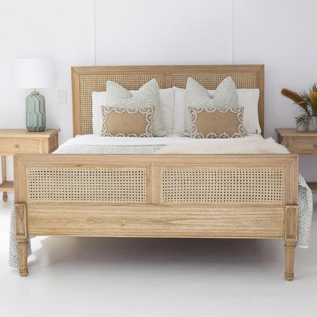 Hamilton Cane Super King Size Bed | Weathered Oak