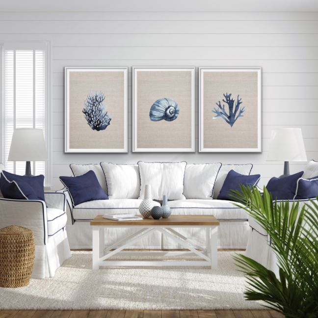 Hamptons Blue Coral On Linen  Three Piece Print Set
