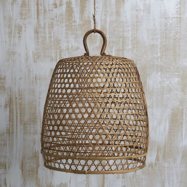 Handwoven Bamboo Natural Light Shade with Handle   Large l Pre Order