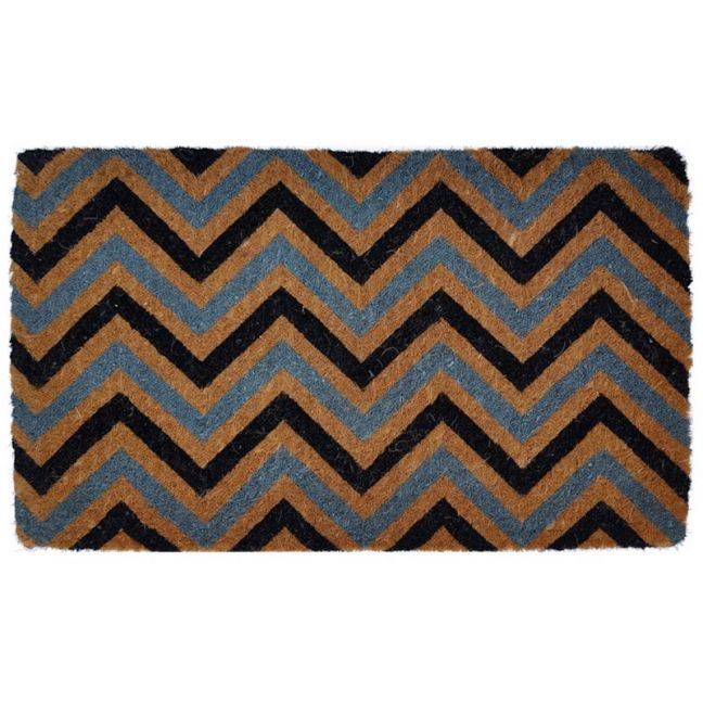 Handwoven Extra Thick Chevron Zig Zag Coir Doormat   Natural Grey and Black 45x75cm   Pepperfry