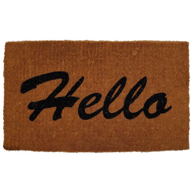 Handwoven Extra Thick Hello Coir Doormat | Black and Natural 45x75cm | Pepperfry