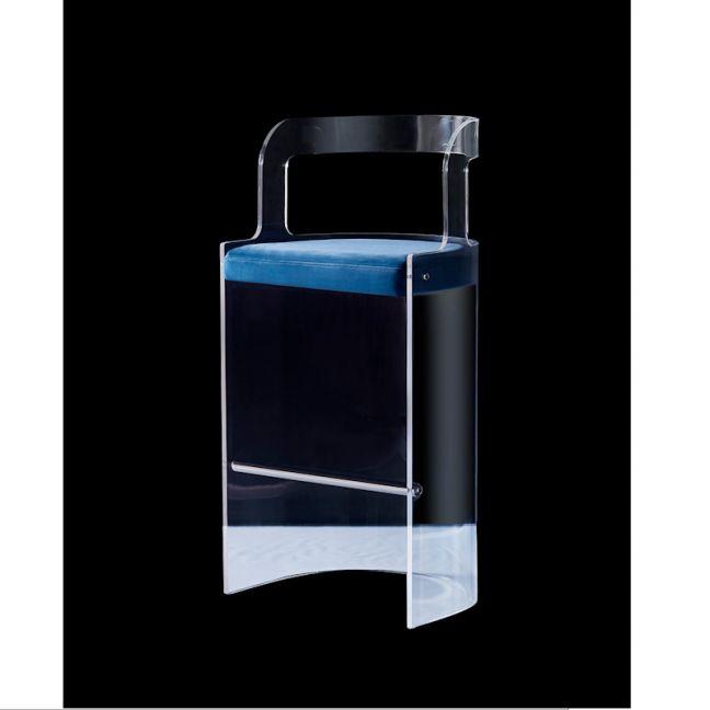 Hapsburg Lucite Acrylic Curved High Top Bar Chair | Velvet Seat | Customisable