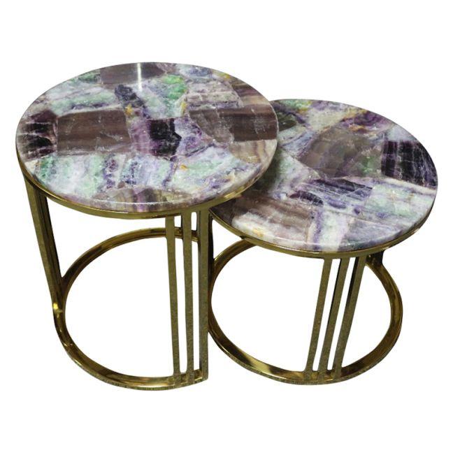 Heliotrope Purple Flourite Stone Nesting Table Set | Gold  Metal Frame