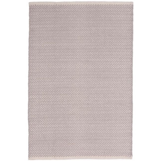 Herringbone Dove Grey Cotton Rug Runner | 76 x 243cm