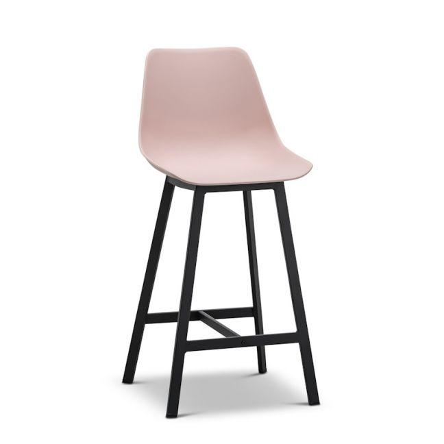 High Back Barstool   Hanns Blush Pastel Pink 67cm   Set of 2