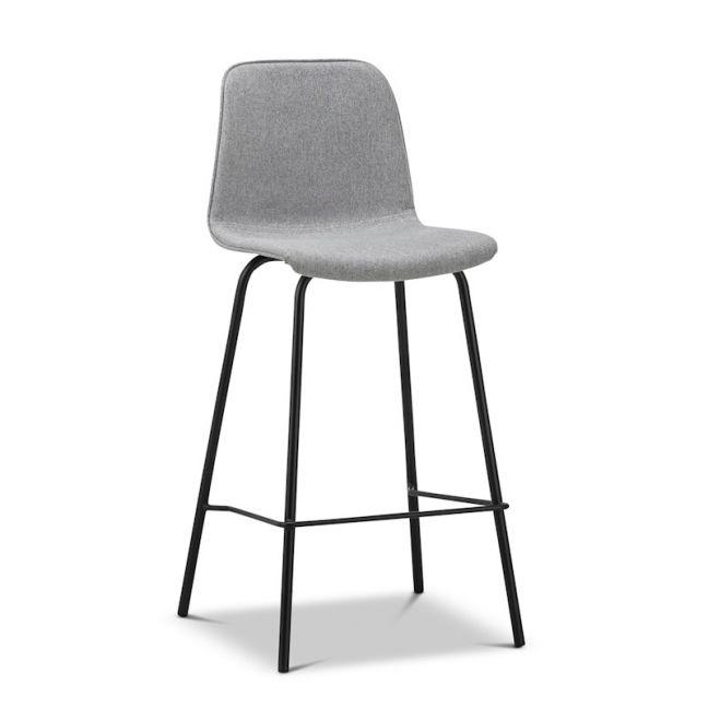 High Back Barstool   Sadel Grey Fabric 65cm   Black Legs   Set of 2
