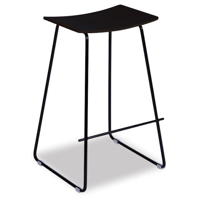 Hudson Timber Counter Stool   Black Frame & Black Seat