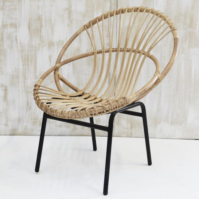 Indah Loop Rattan Armchair with Iron Legs