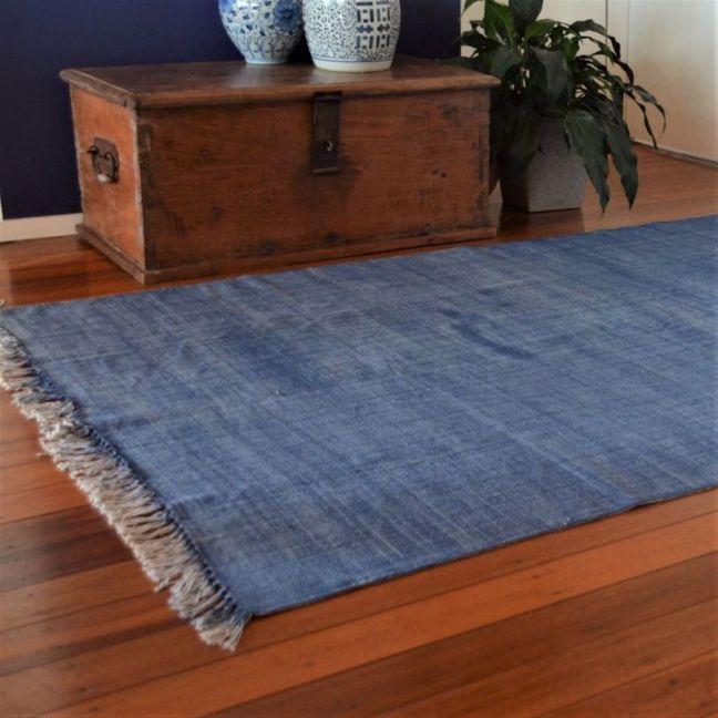 Indigo Blue Wash Rug with Natural Trim