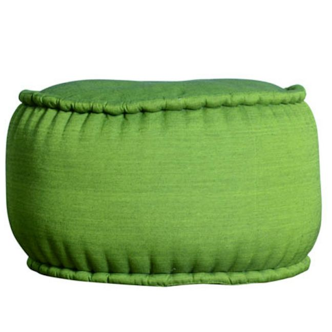 Indonesian Ikat Cotton Pouf | Green