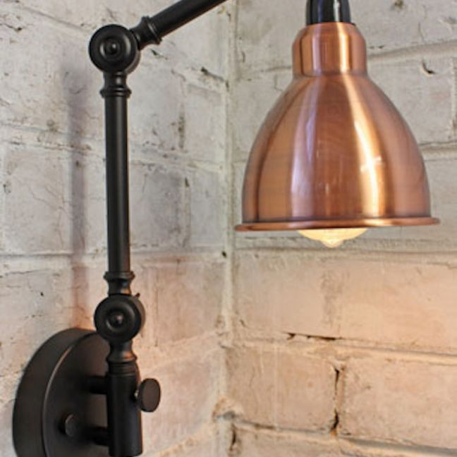 Industrial Two Arm Swing Wall Lamp | Polished Aged Copper