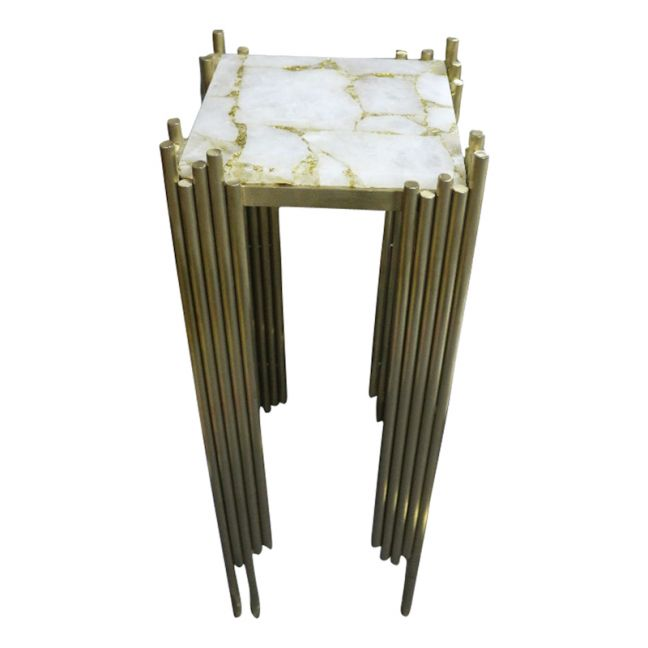 Infinity White Quartz and Gold Leaf  Brushed Gold  Table