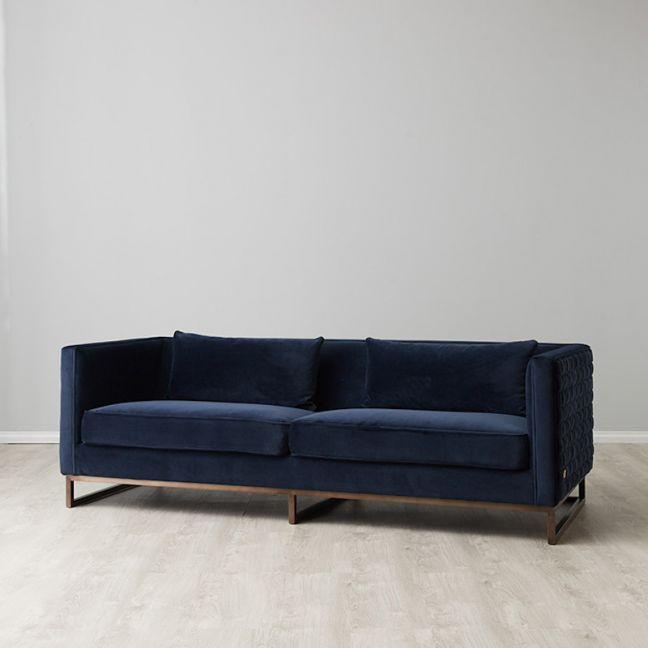 Interwoven Sofa   Velvet   Navy