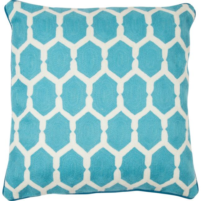 Inverloch Hand Embroidered Cushion | Turquoise | Schots