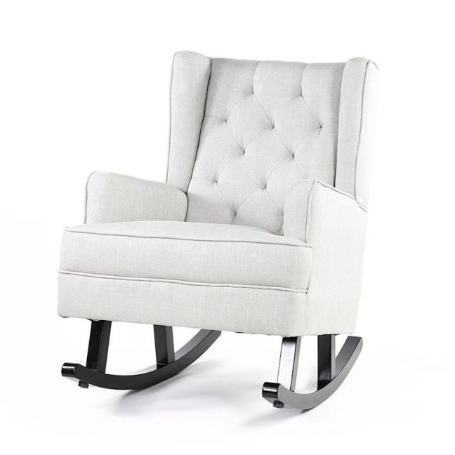 Isla Wingback Rocking Chair | Taupe with Black Legs