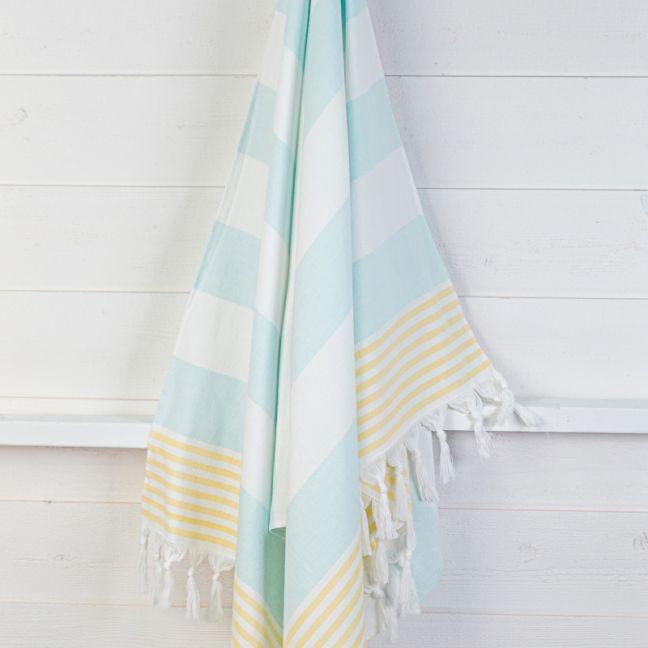 Izmir Aquamarine/Gold | Turkish Towel