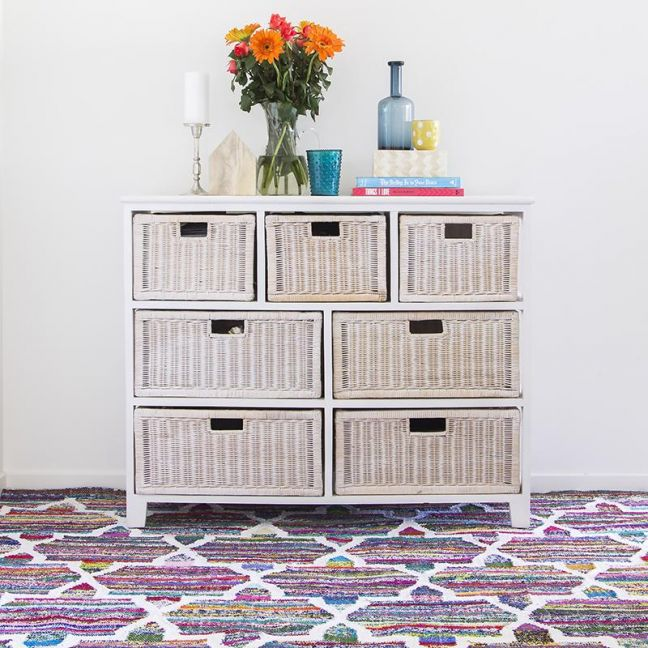 Janani Flatweave Rug by Sugarcane Trading Co | Handwoven, upcycled colourful rug