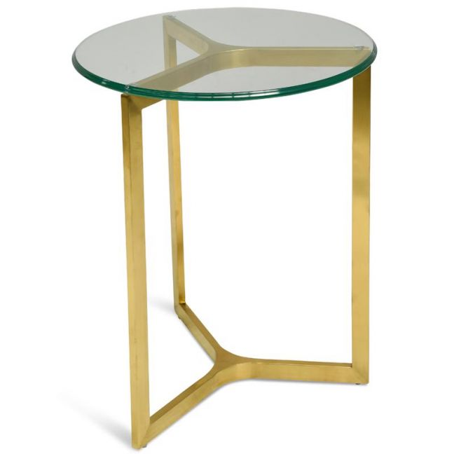 Janet Round Glass Side Table | Gold Base | Interior Secrets