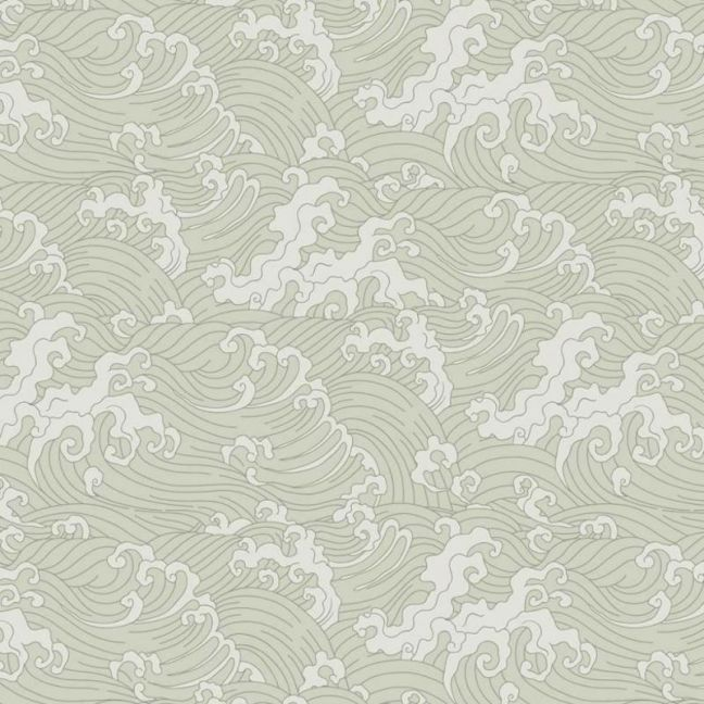Japanese Wave Wallpaper Pale Green