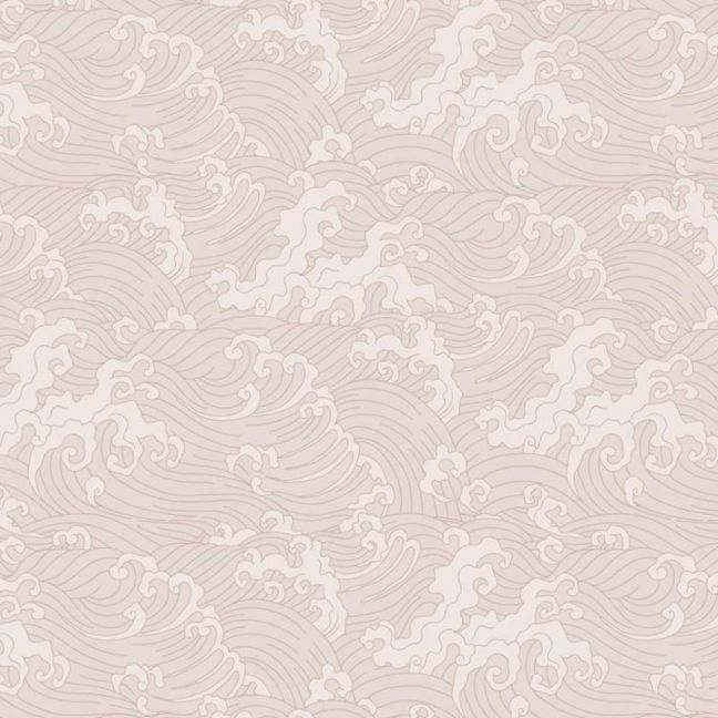 Japanese Wave Wallpaper - Pale Pink