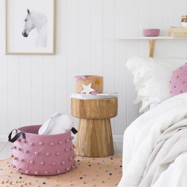 Jester Felt Storage Basket   Pink