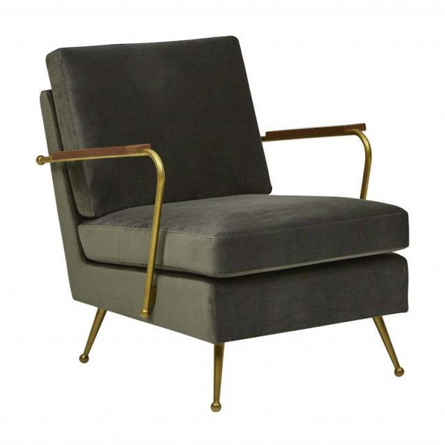 Juno Conrad Sofa Chair | Khaki / Brass
