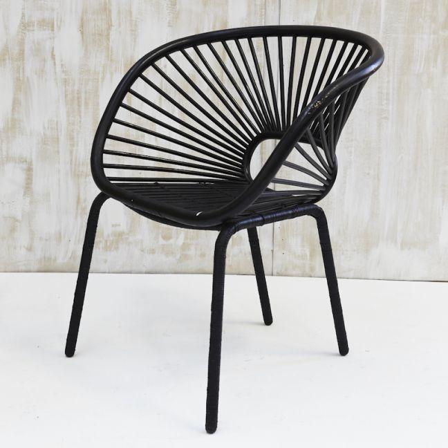 Kade Angular Rattan Armchair in Black l Custom Made